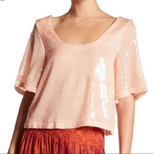 Free People Night Fever Sequin Crop Top Pearl NWT